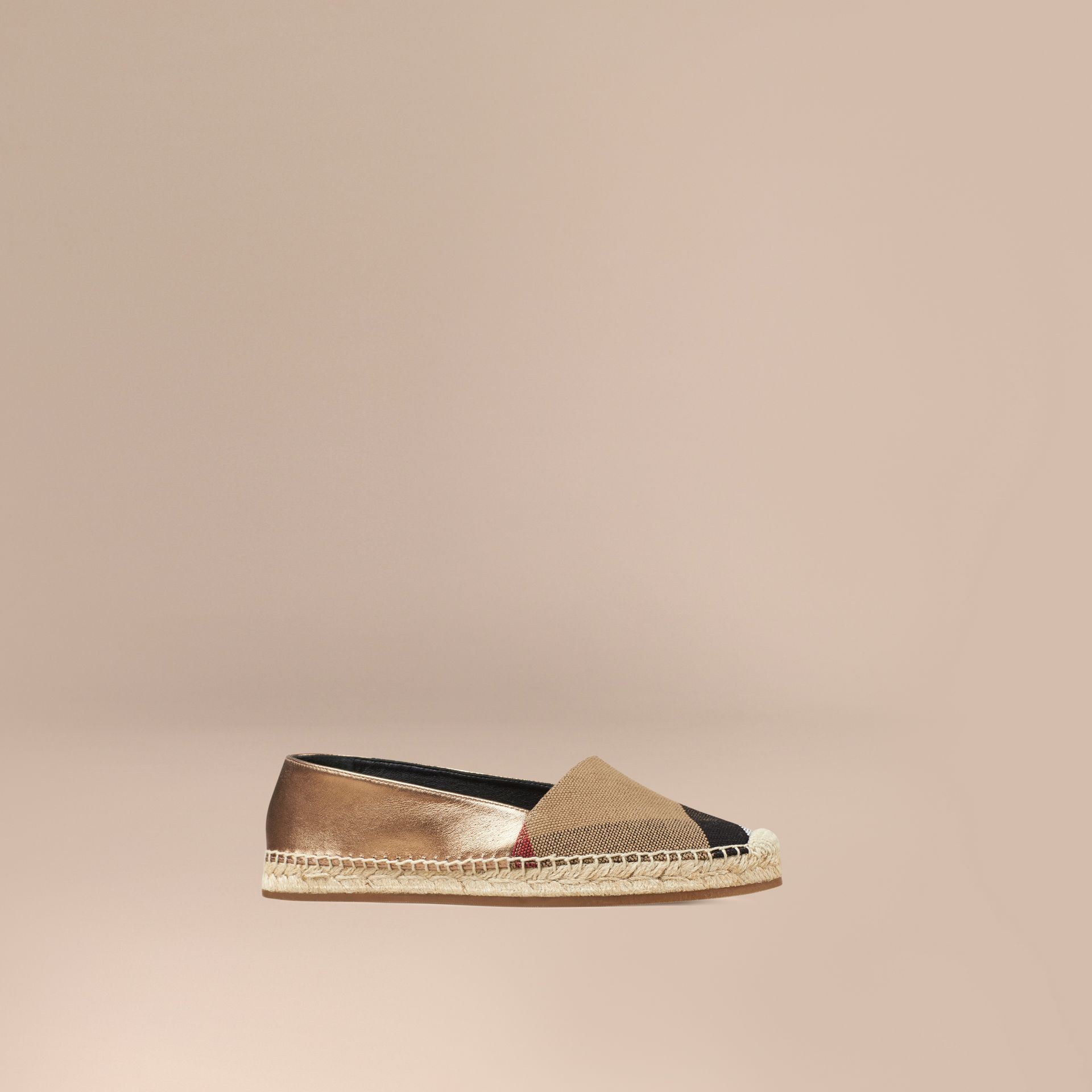 Heritage gold Check Jute Cotton and Leather Espadrilles - gallery image 1