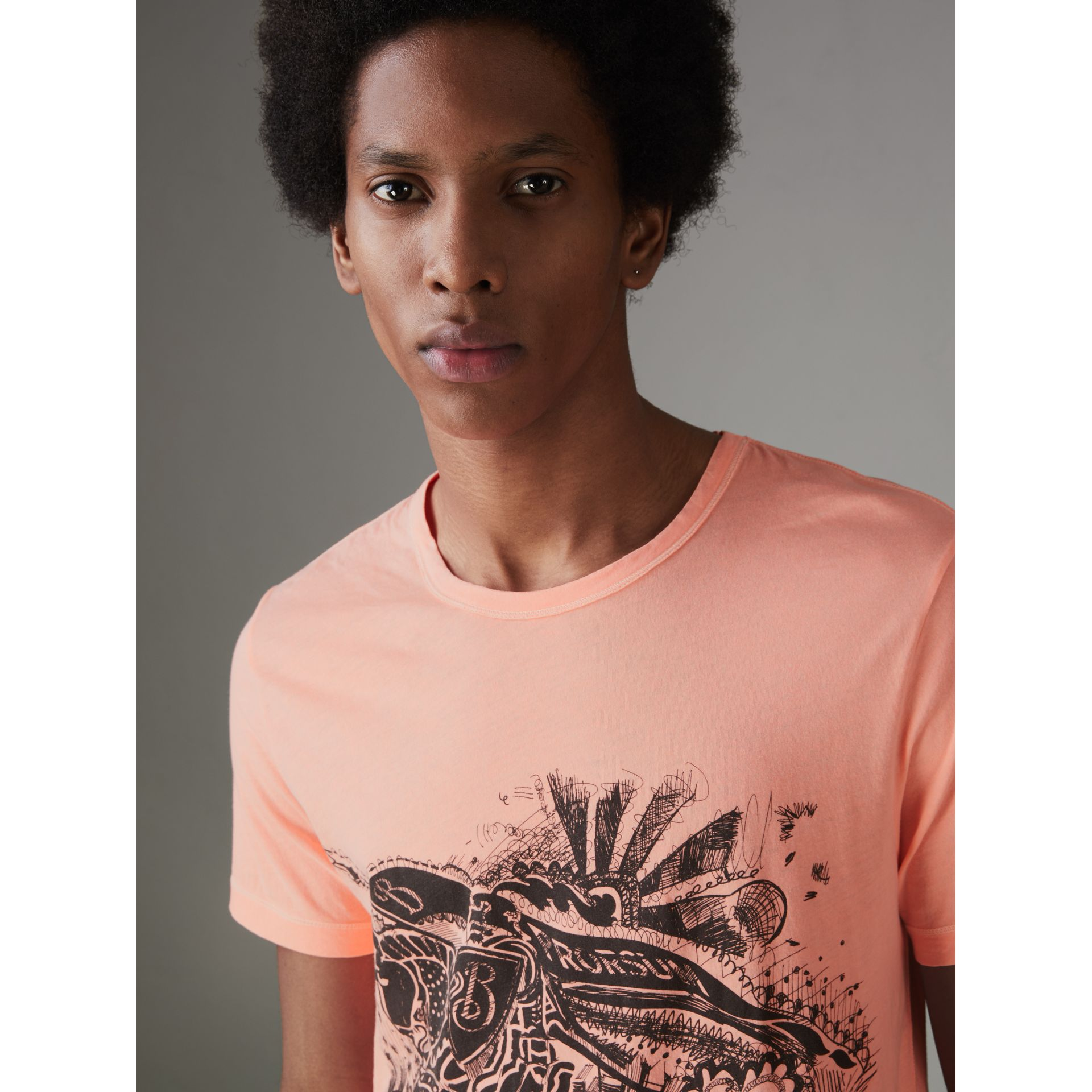 Doodle and Equestrian Knight Print Cotton T-shirt in Bright Clementine - Men | Burberry - gallery image 1