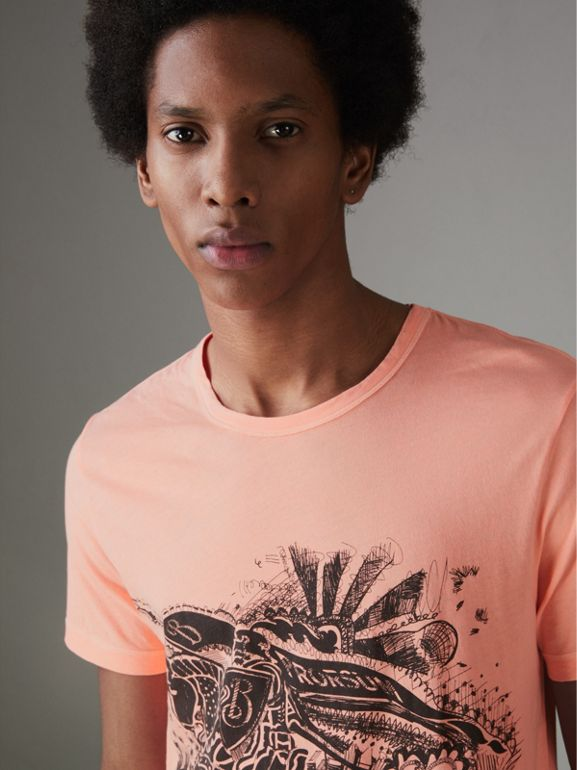 Doodle and Equestrian Knight Print Cotton T-shirt in Bright Clementine - Men | Burberry United Kingdom - cell image 1