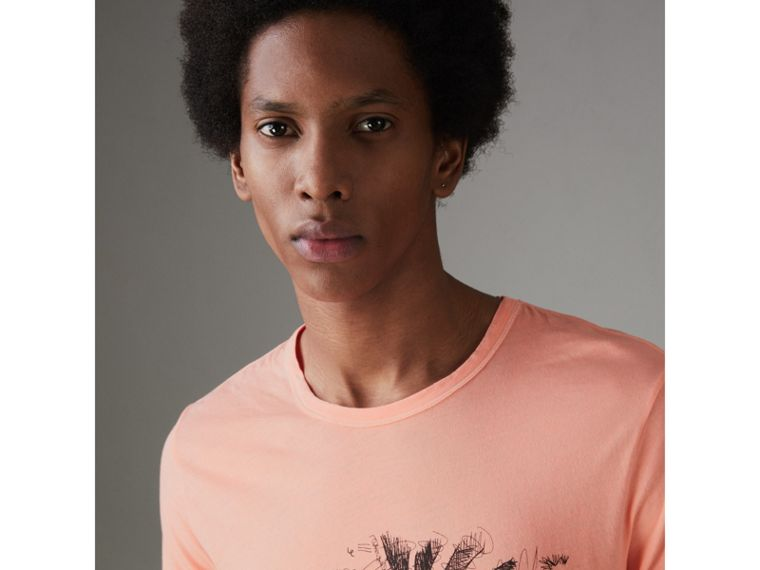 Doodle and Equestrian Knight Print Cotton T-shirt in Bright Clementine - Men | Burberry - cell image 1