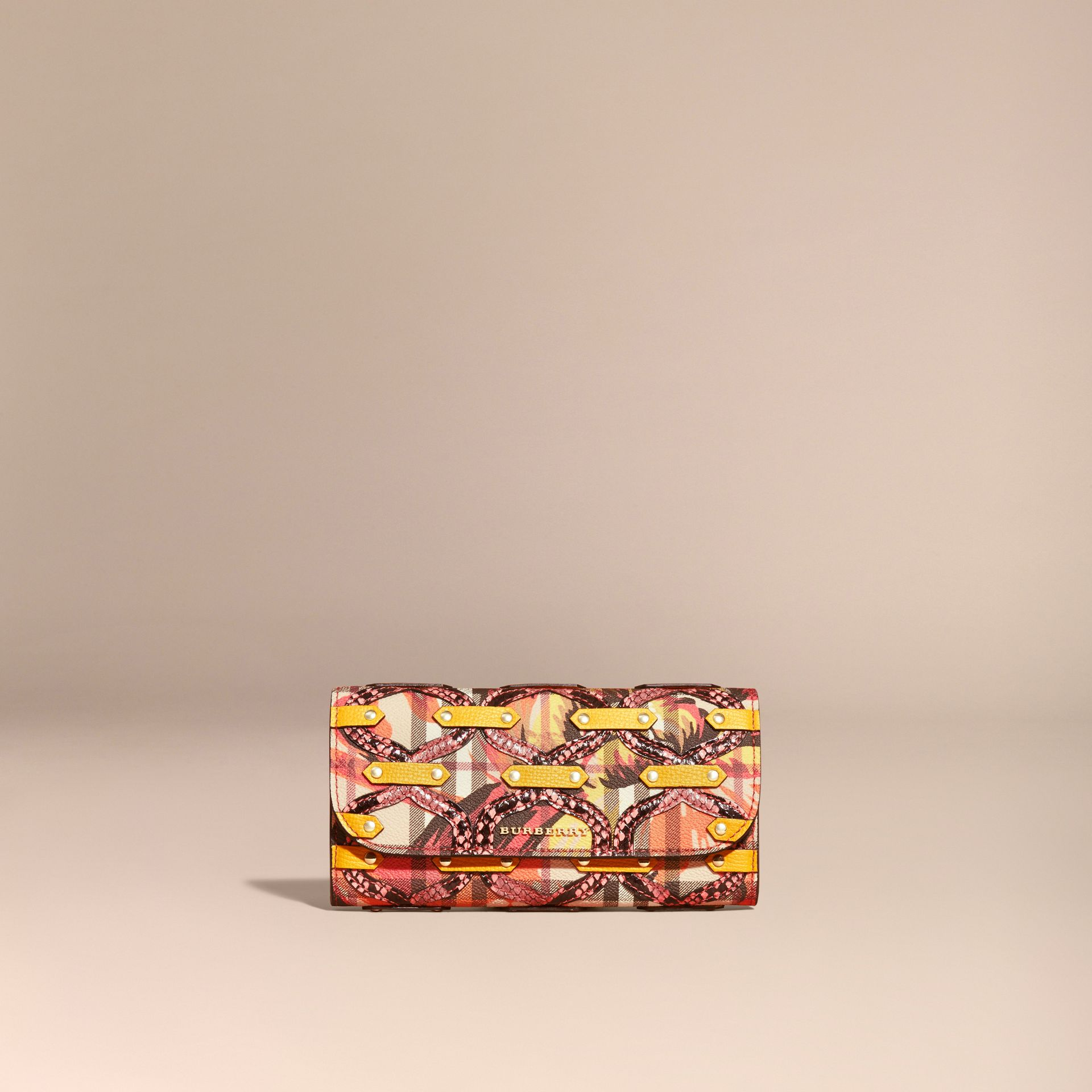 Snakeskin Appliqué Peony Rose Print Haymarket Check Continental Wallet in Larch Yellow - gallery image 6