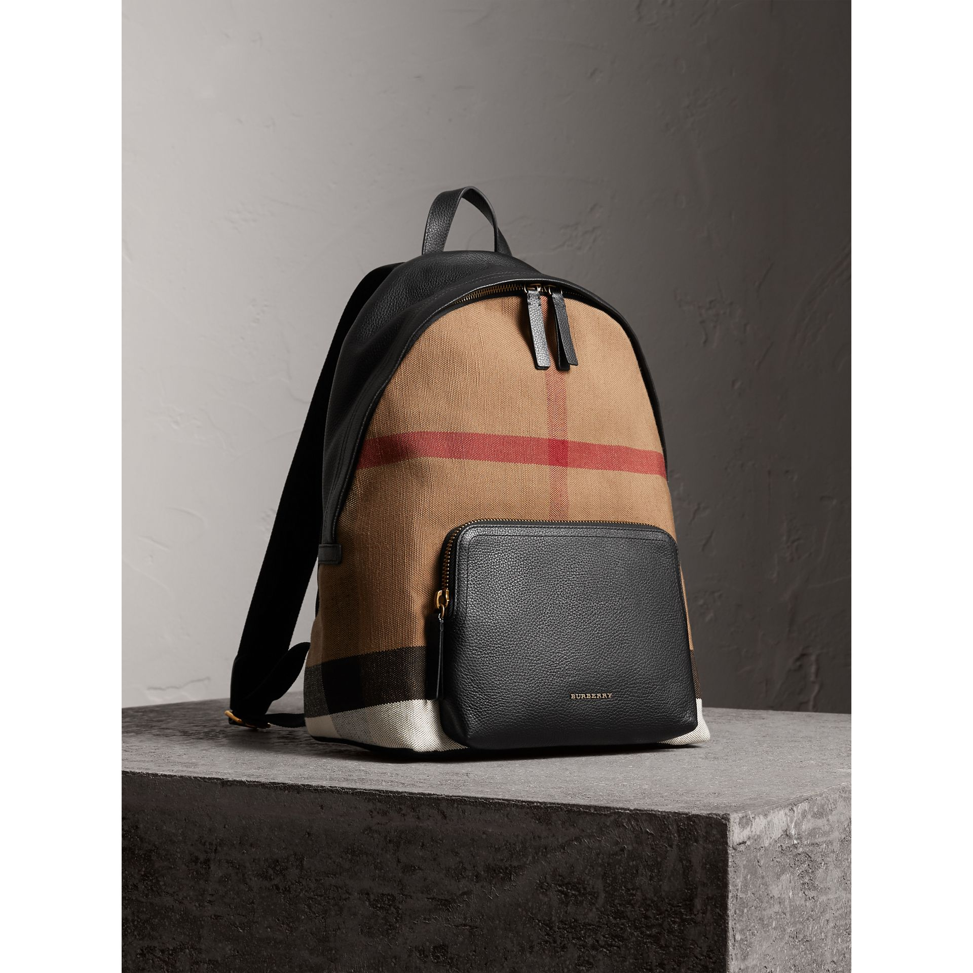 Canvas Check and Leather Backpack in Black - Men | Burberry - gallery image 7