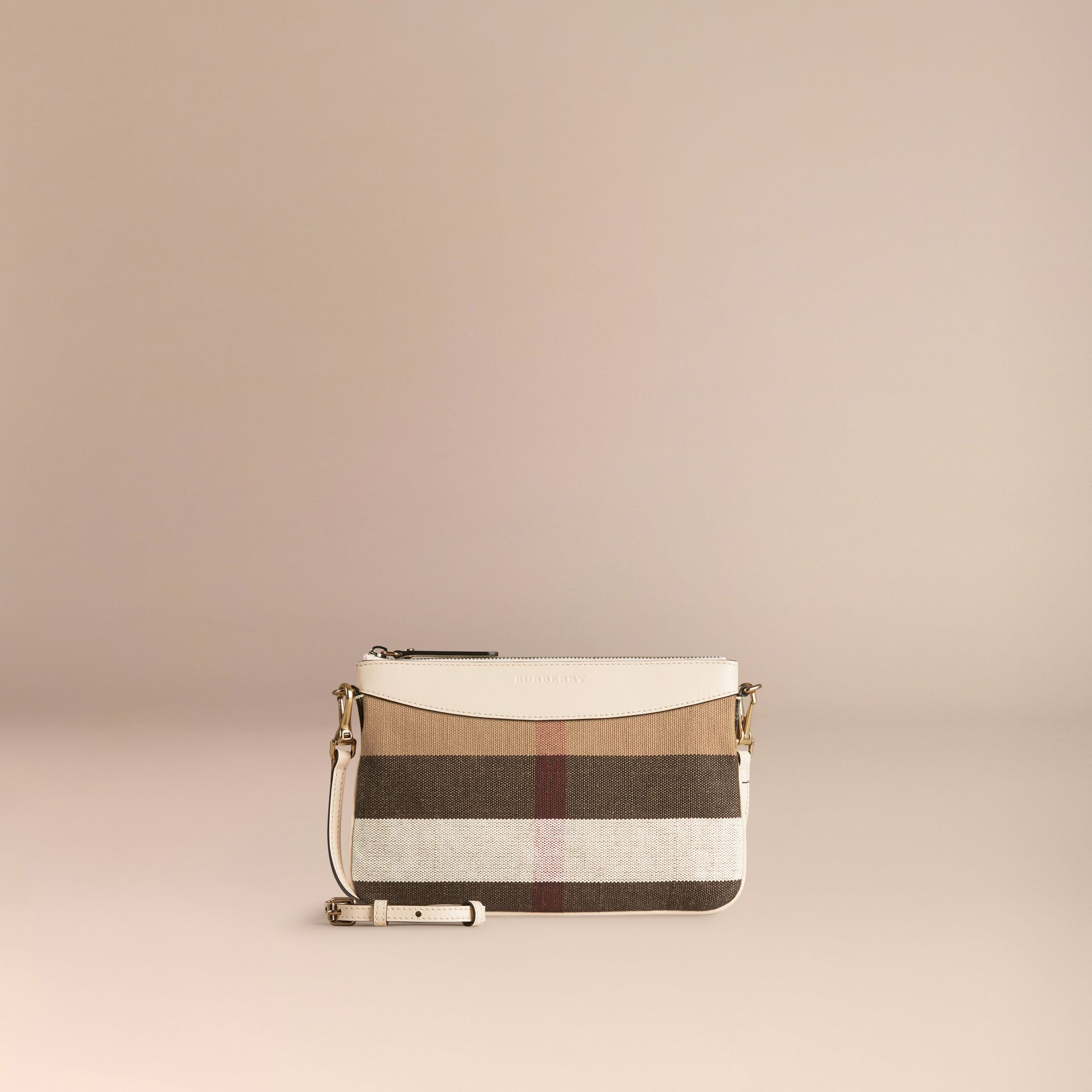 White Canvas Check and Leather Clutch Bag White - gallery image 6