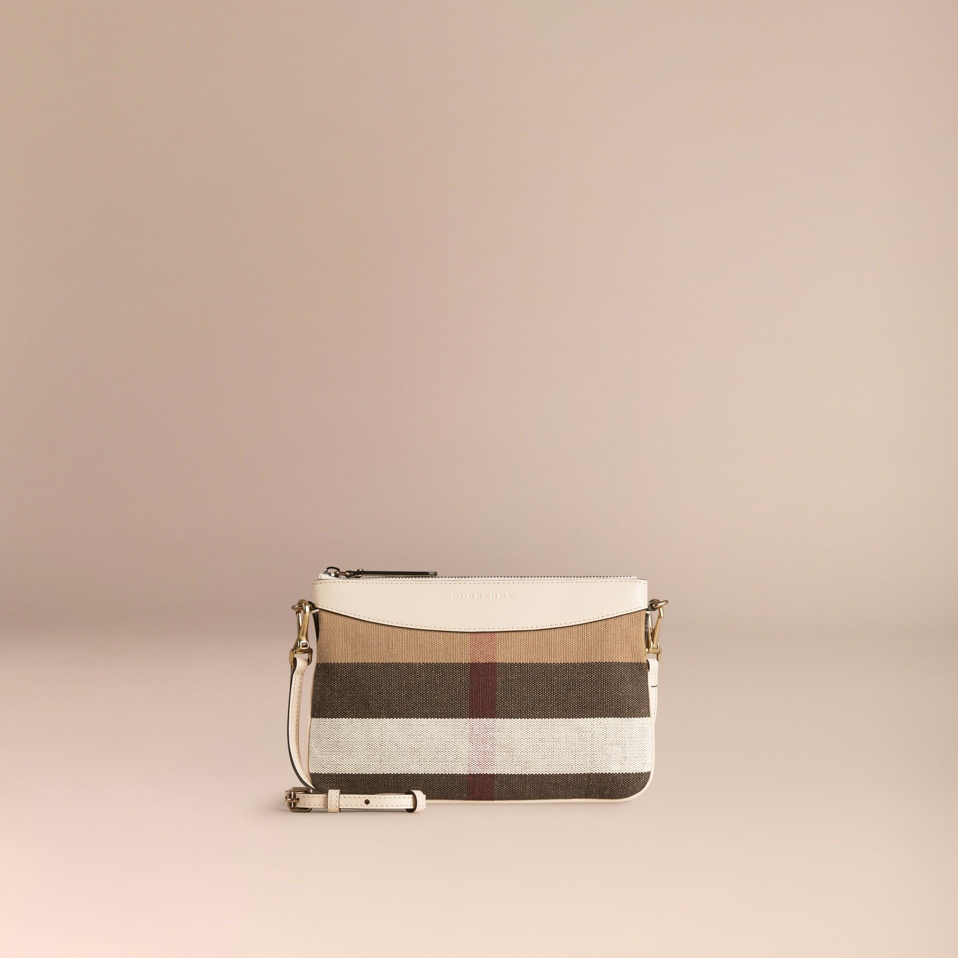 Branco Bolsa clutch de couro com padrão Canvas check - galeria de imagens 6