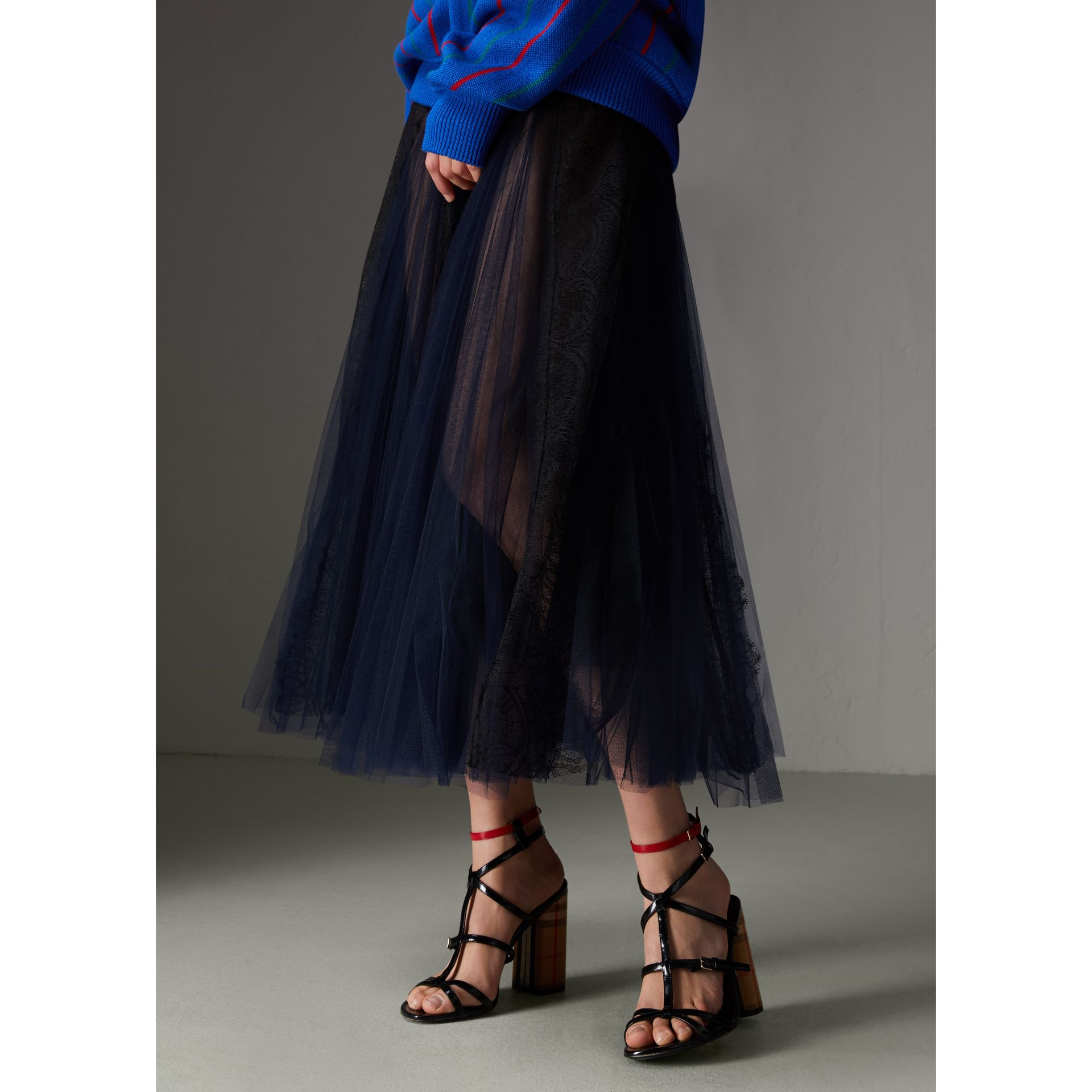 Lace Panel Pleated Tulle Skirt in Navy - Women | Burberry - gallery image 4