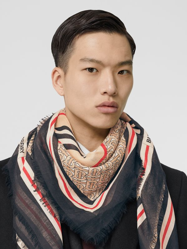 Icon Stripe Monogram Print Wool Silk Square Large Scarf in Archive Beige | Burberry Australia - cell image 3