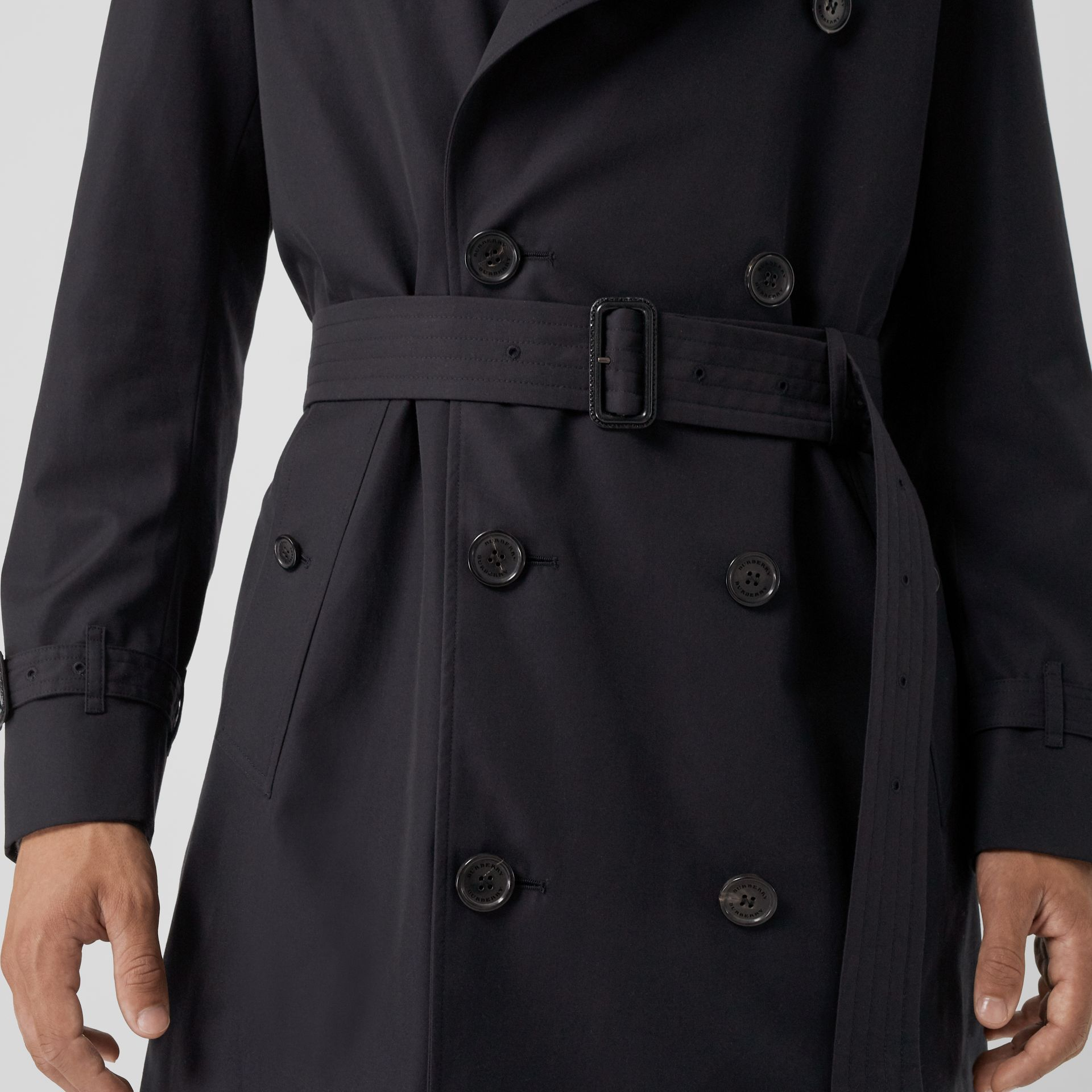 Cotton Gabardine Trench Coat with Warmer in Midnight - Men | Burberry - gallery image 4