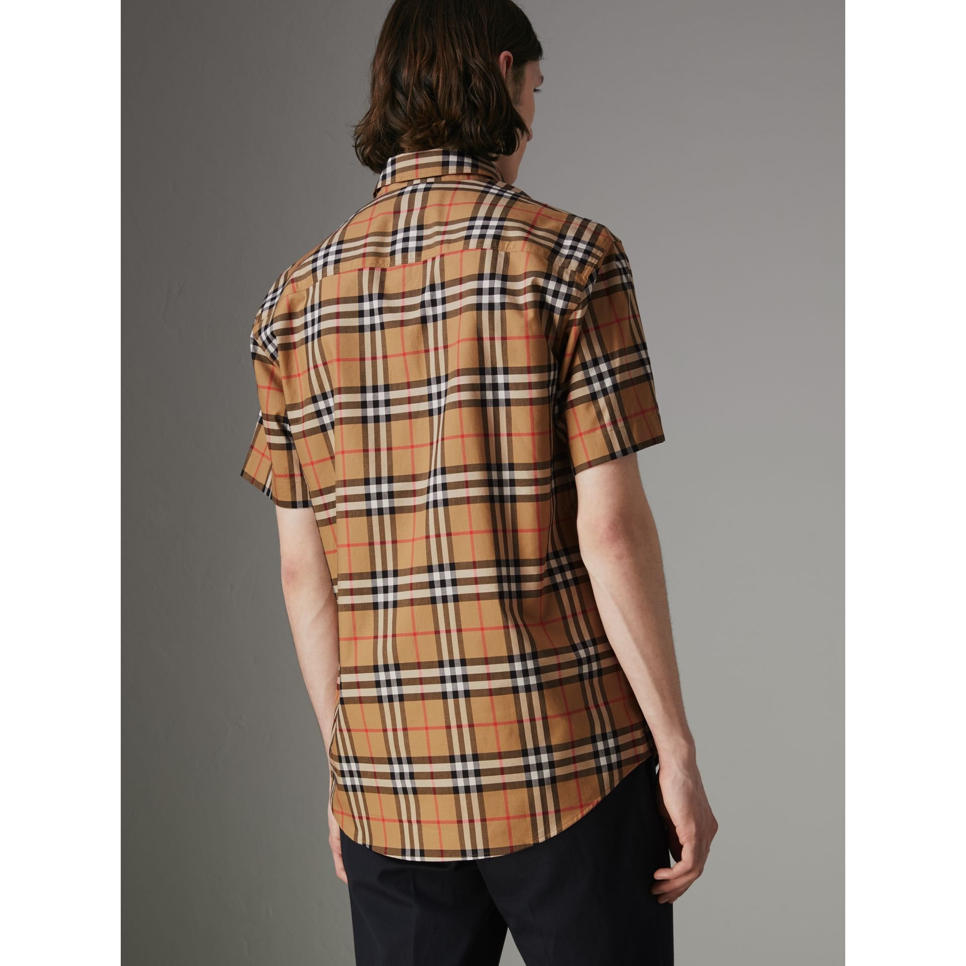 Short-sleeve Vintage Check Shirt in Antique Yellow - Men | Burberry United Kingdom - gallery image 2