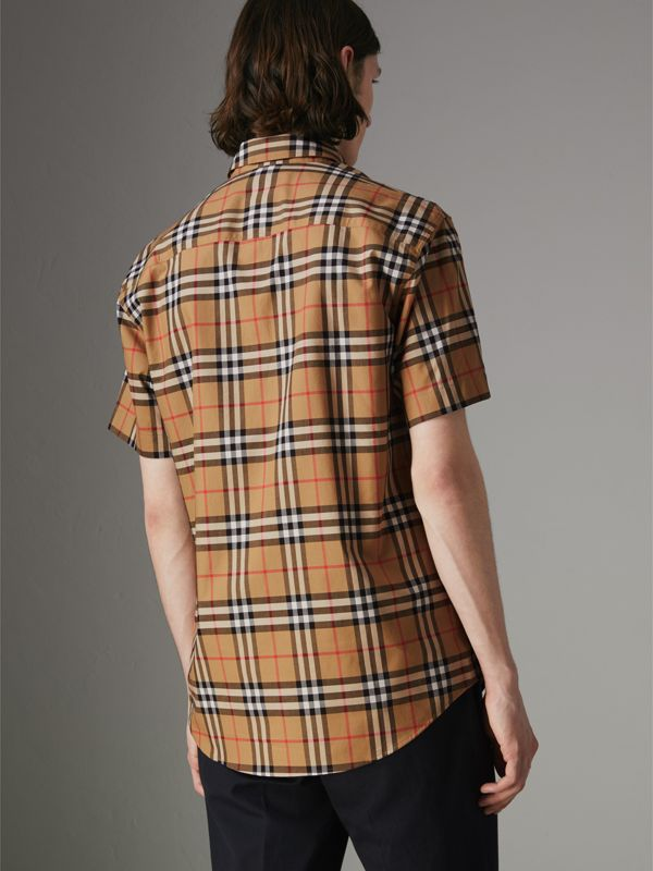 Short-sleeve Vintage Check Shirt in Antique Yellow - Men | Burberry Hong Kong - cell image 2
