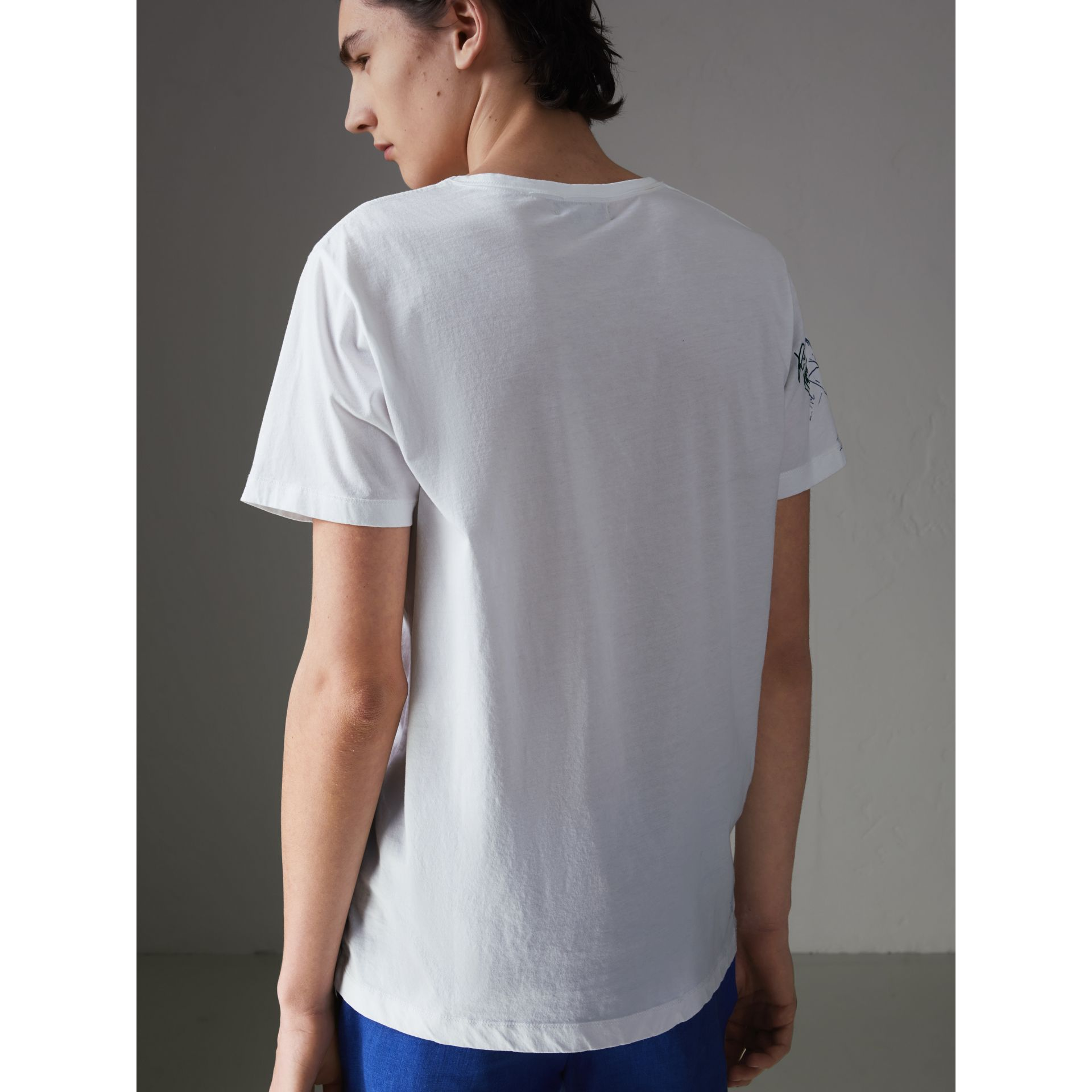 Sketch Print Cotton T-shirt in White - Men | Burberry Australia - gallery image 2