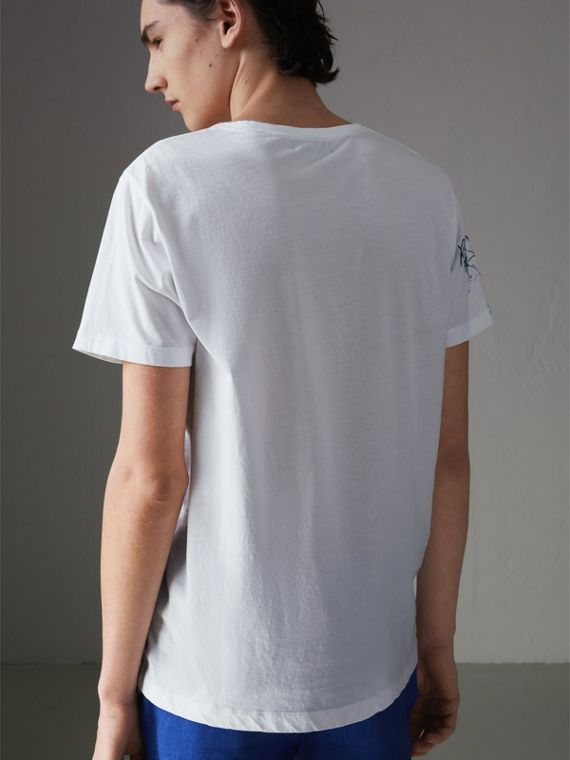 Sketch Print Cotton T-shirt in White - Men | Burberry Australia - cell image 2