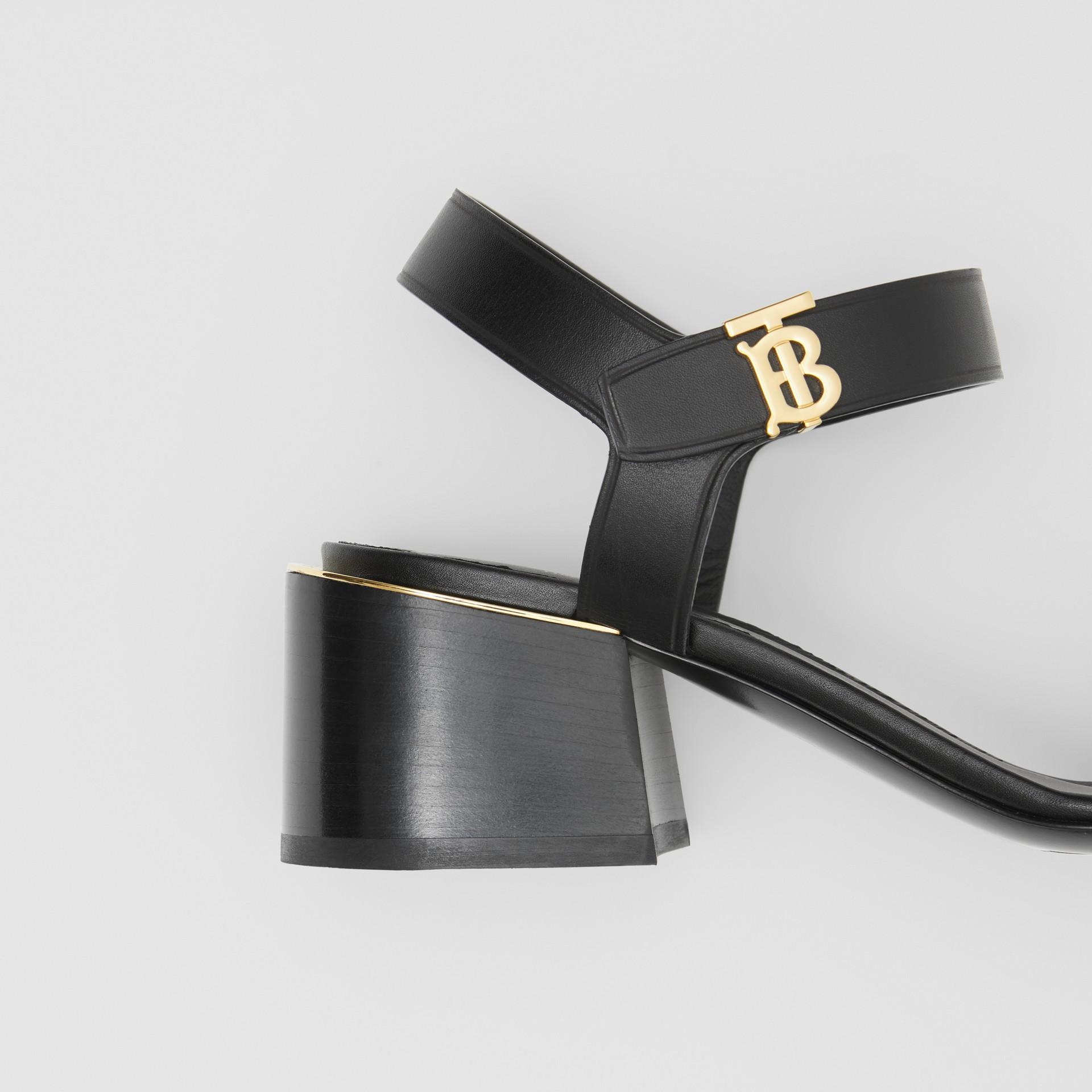 Monogram Motif Leather Block-heel Sandals in Black - Women | Burberry - gallery image 1