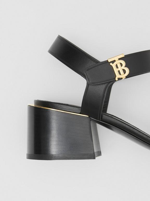 Monogram Motif Leather Block-heel Sandals in Black - Women | Burberry - cell image 1