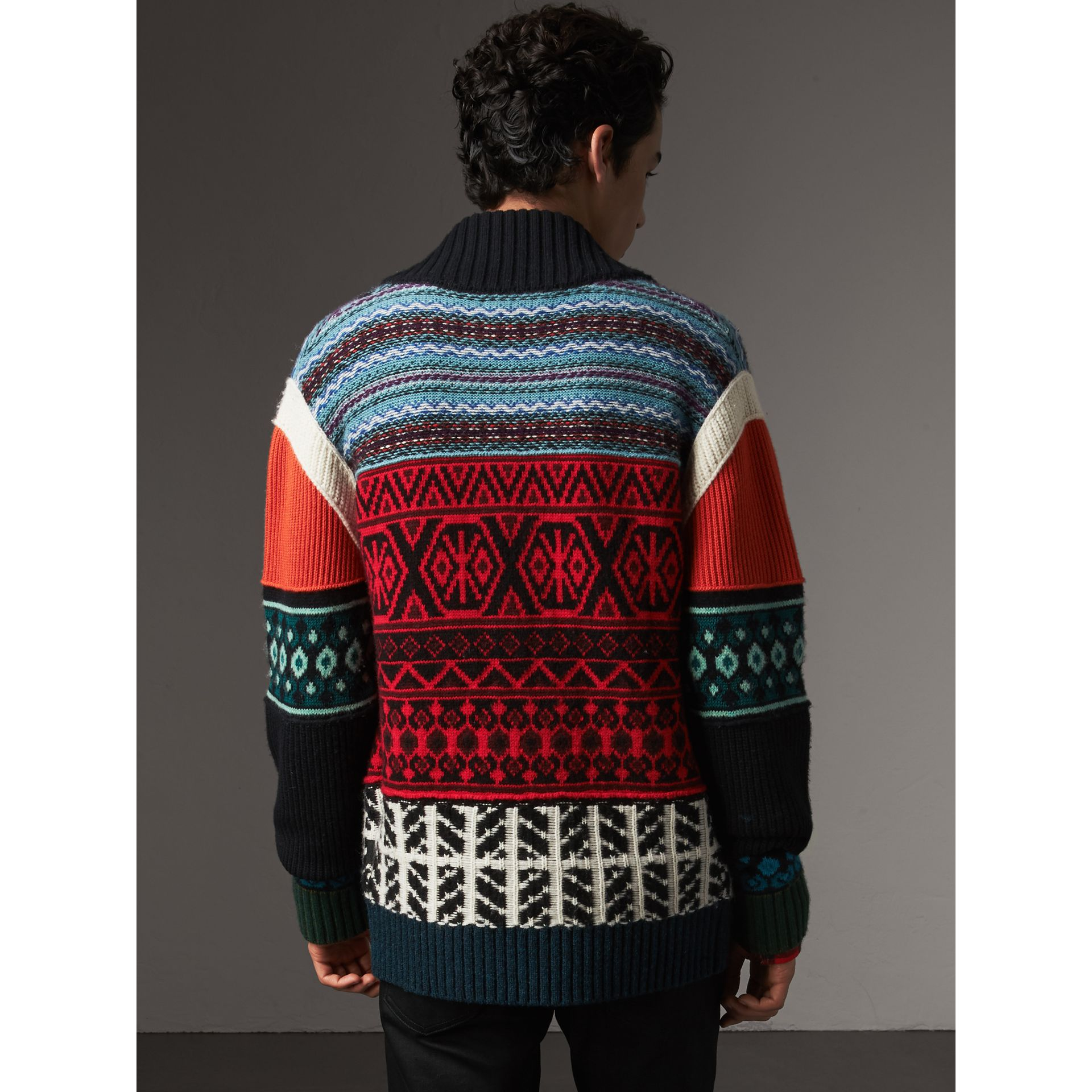 Fair Isle Wool Cashmere Cotton Bomber Jacket in Orange - Men | Burberry Australia - gallery image 3