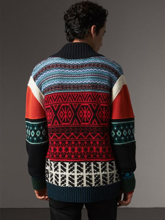 Fair Isle Wool Cashmere Cotton Bomber Jacket in Orange - Men | Burberry Australia - cell image 2