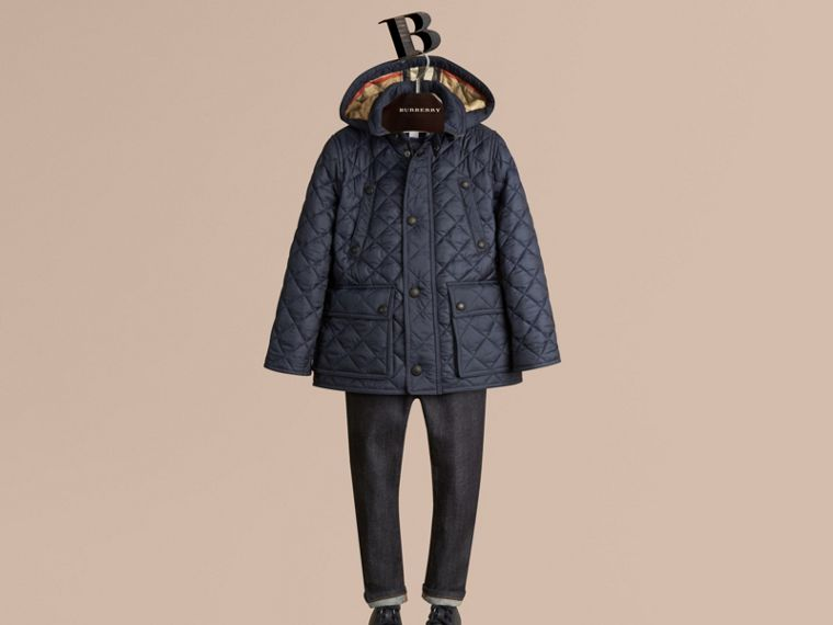 Detachable Hood Lightweight Quilted Jacket in Ink Blue - Boy | Burberry - cell image 2