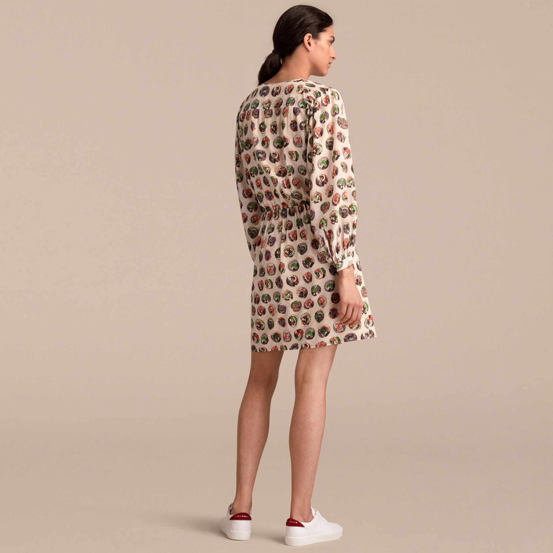 Pallas Heads Print Silk Dress with Neck Tie in Natural White - Women | Burberry United Kingdom - gallery image 3