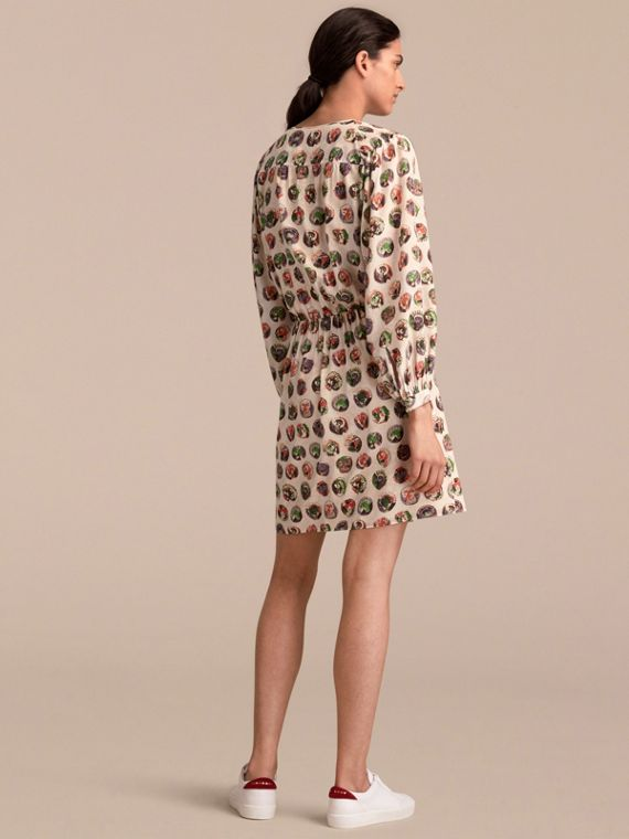 Pallas Heads Print Silk Dress with Neck Tie in Natural White - Women | Burberry - cell image 2