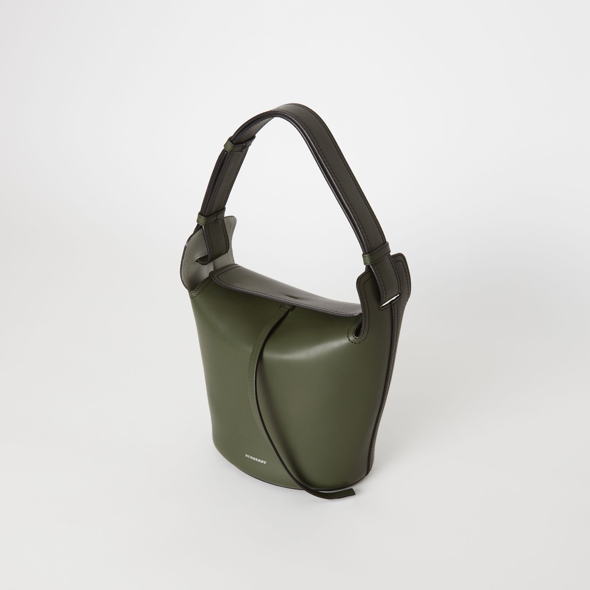 The Small Leather Bucket Bag in Dark Olive - Women | Burberry United States - gallery image 4