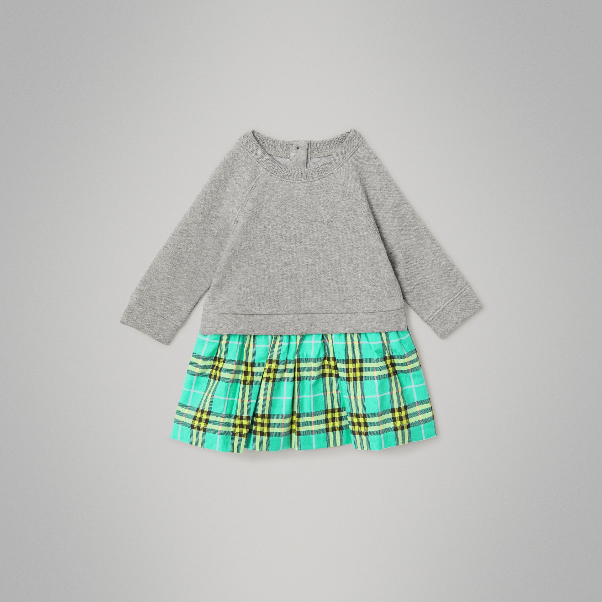 Check Cotton Sweater Dress in Bright Turquoise - Children | Burberry - gallery image 0