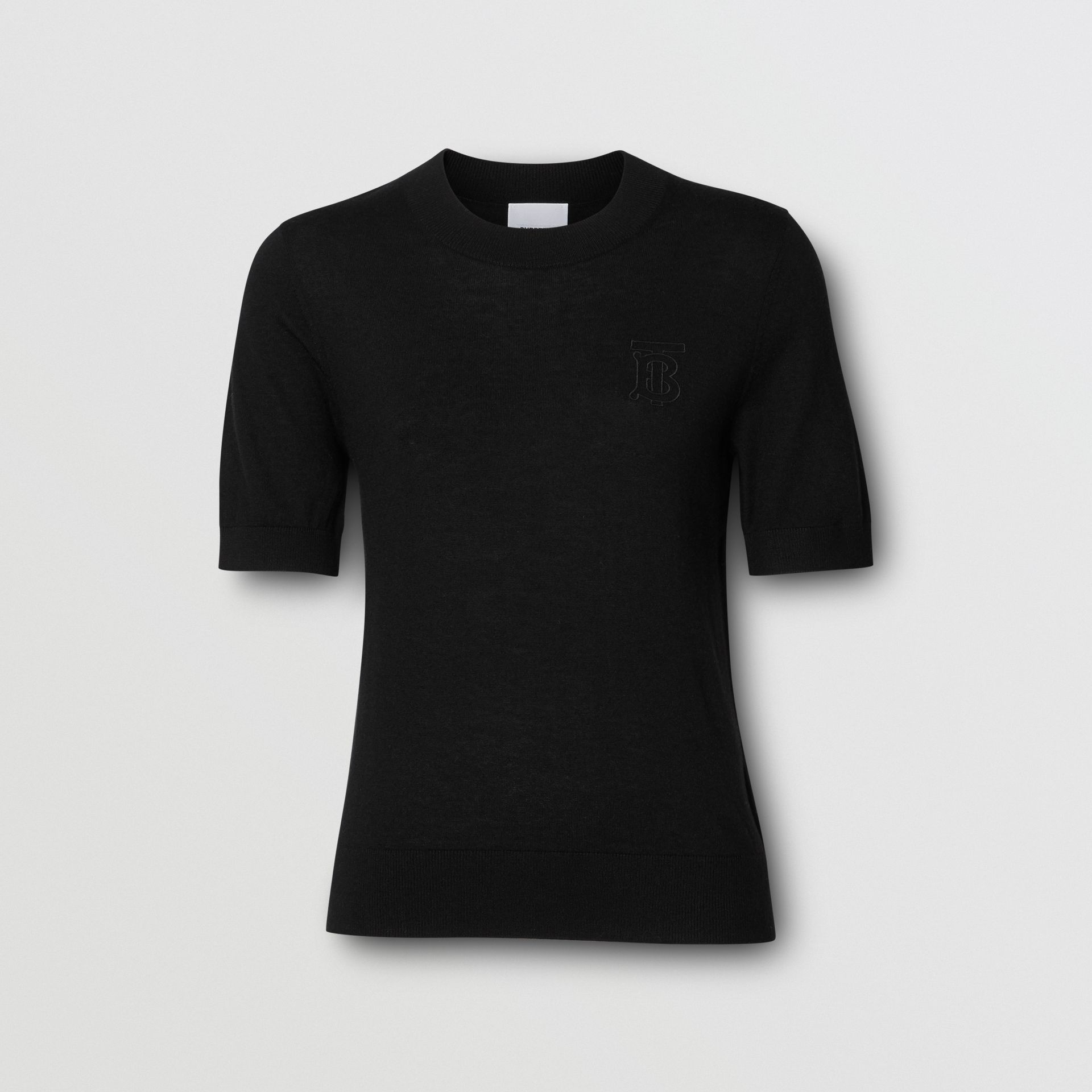 Monogram Motif Cashmere Top in Black - Women | Burberry - gallery image 3
