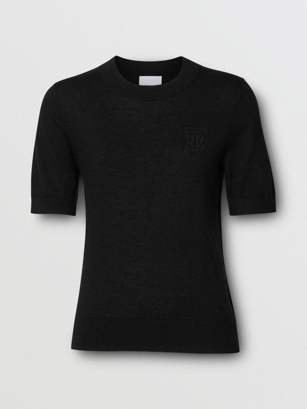 Monogram Motif Cashmere Top in Black - Women | Burberry United States - cell image 3