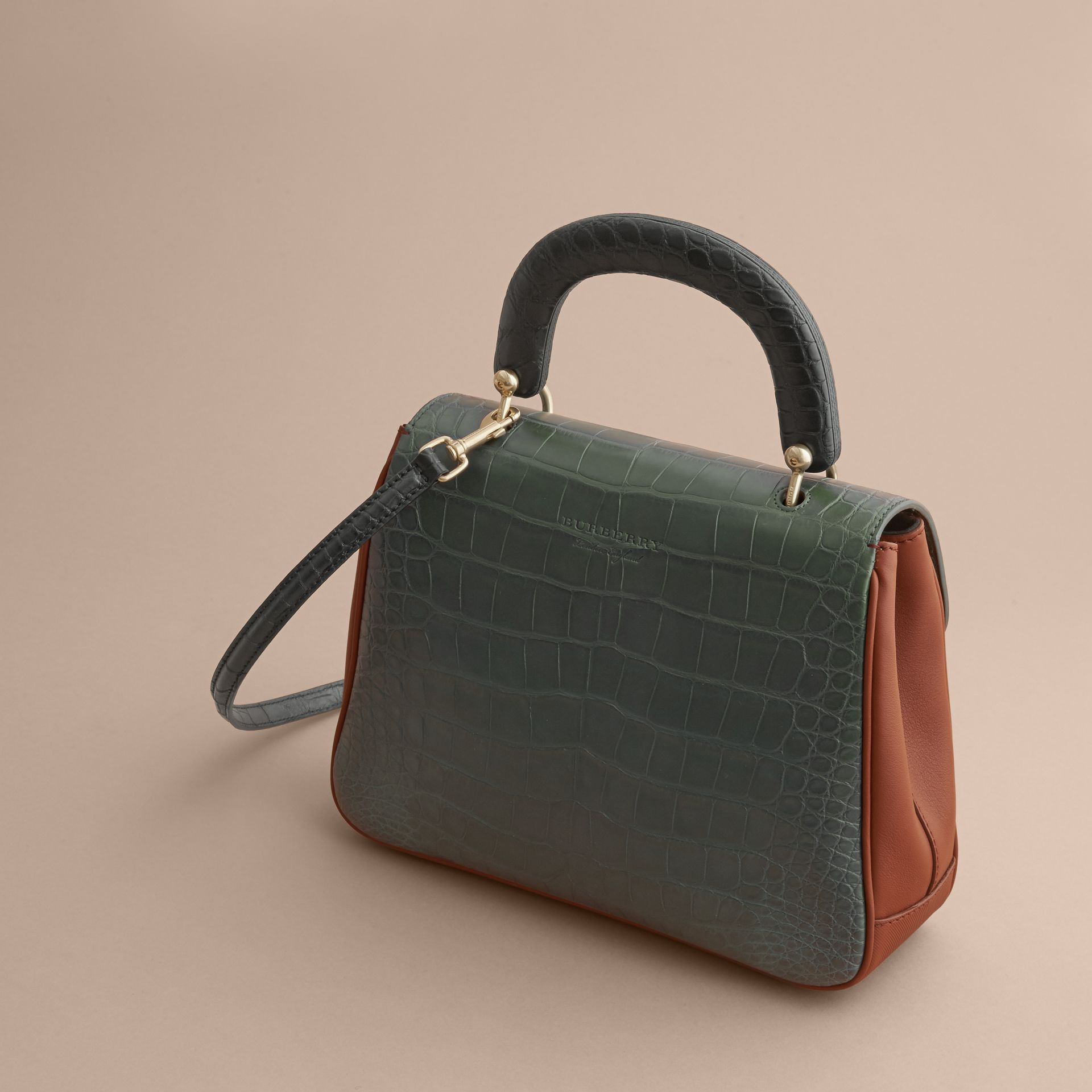 The Medium DK88 Top Handle Bag with Alligator in Tan/dark Forest Green - Women | Burberry - gallery image 4