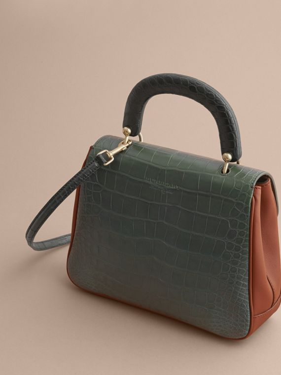 The Medium DK88 Top Handle Bag with Alligator in Tan/dark Forest Green - Women | Burberry - cell image 3