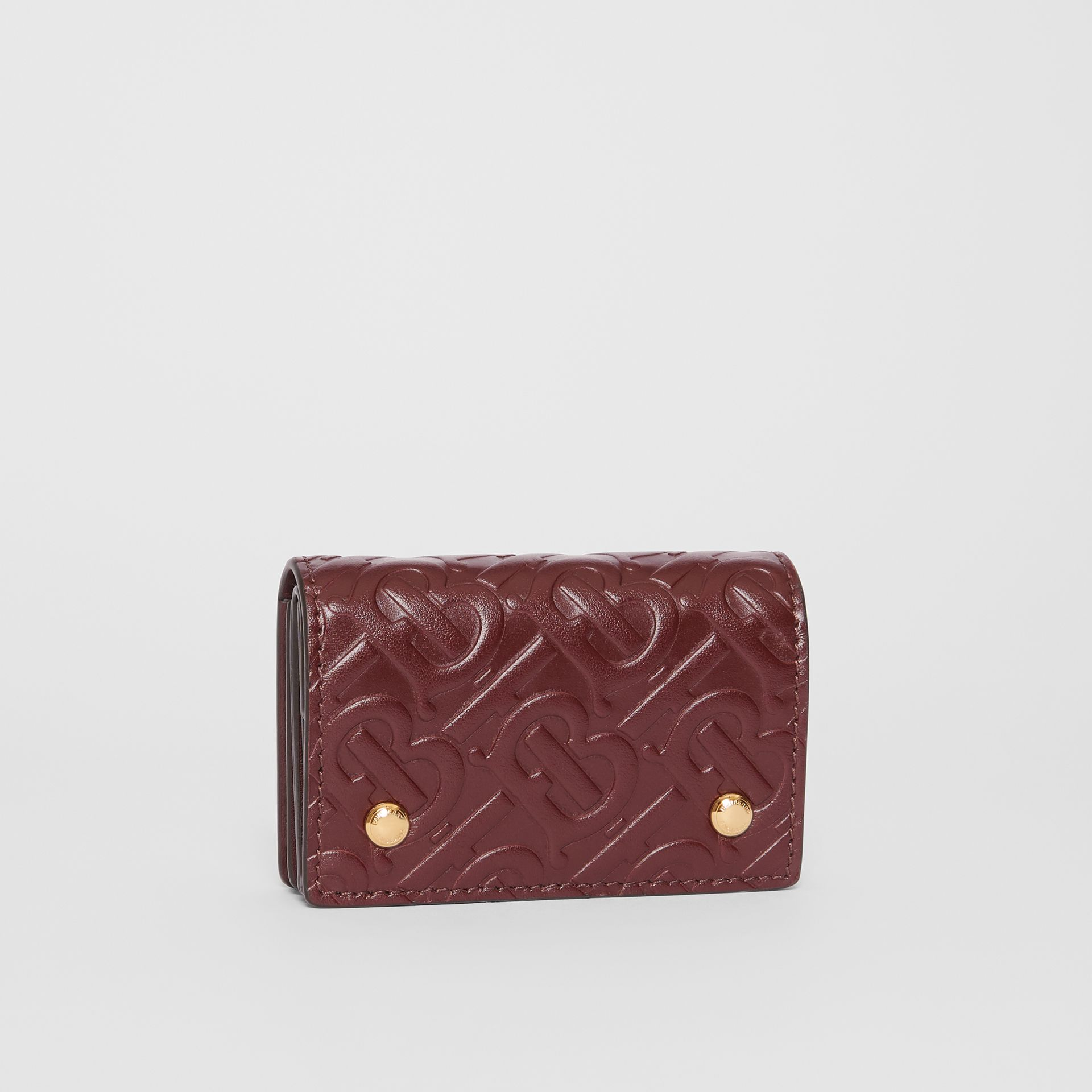 Monogram Leather Card Case in Oxblood | Burberry - gallery image 3