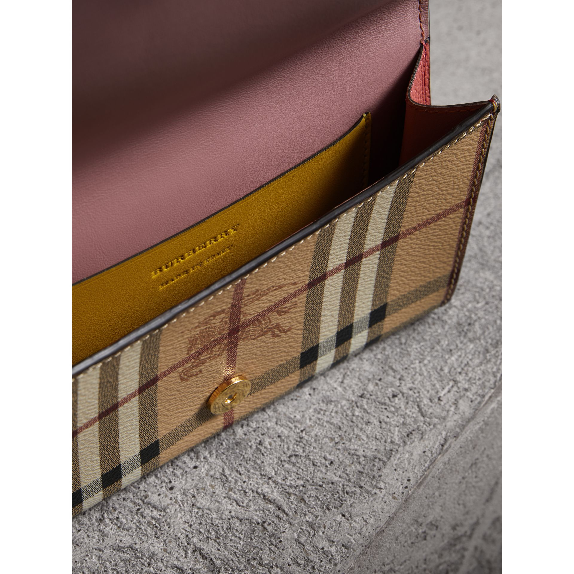 Leather and Haymarket Check Wristlet Wallet in Cinnamon Red/multicolour - Women | Burberry - gallery image 5