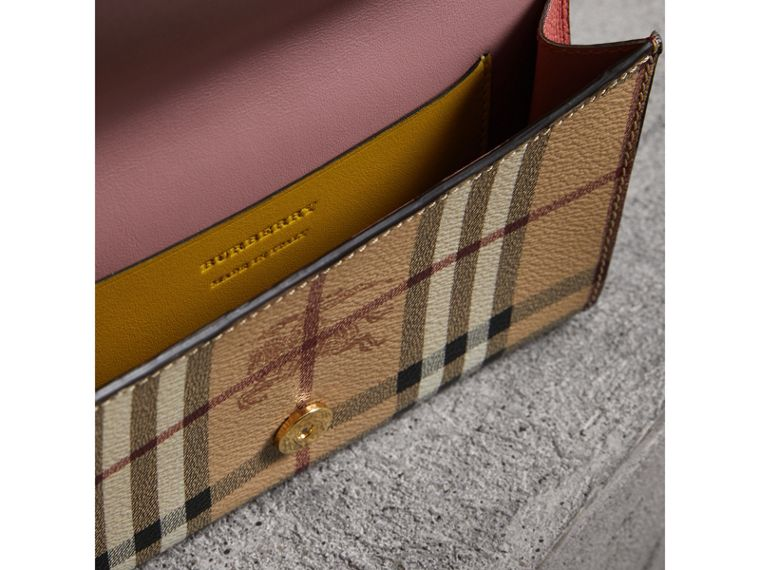 Leather and Haymarket Check Wristlet Wallet in Cinnamon Red/multicolour - Women | Burberry - cell image 4