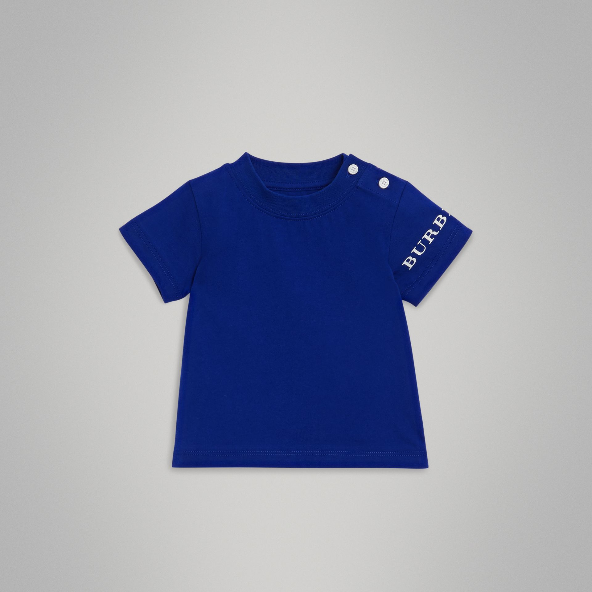 Logo Print Cotton T-shirt in Cobalt Blue - Children | Burberry United Kingdom - gallery image 0