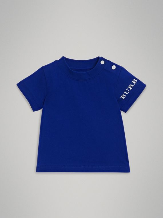 Logo Print Cotton T-shirt in Cobalt Blue