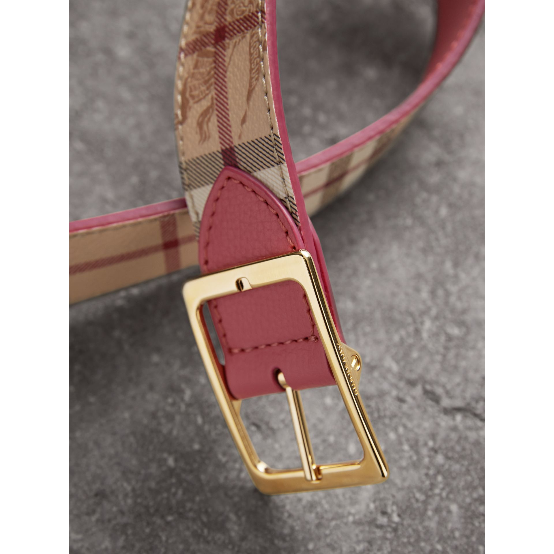 Riveted Reversible Check and Leather Belt in Plum Pink - Women | Burberry - gallery image 2