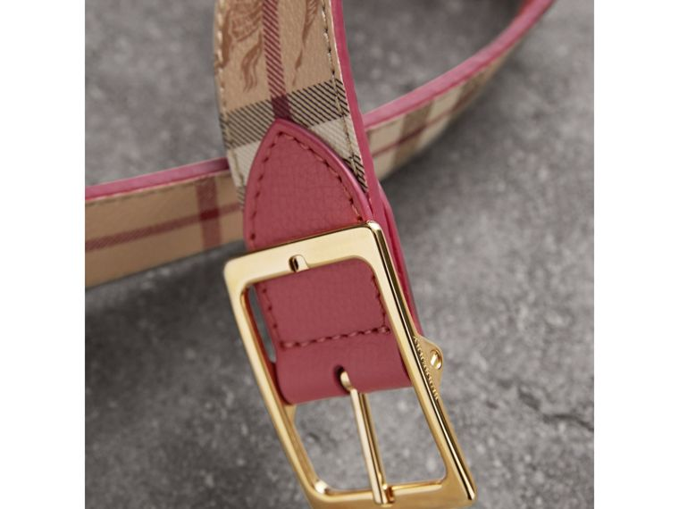 Riveted Reversible Check and Leather Belt in Plum Pink - Women | Burberry - cell image 1