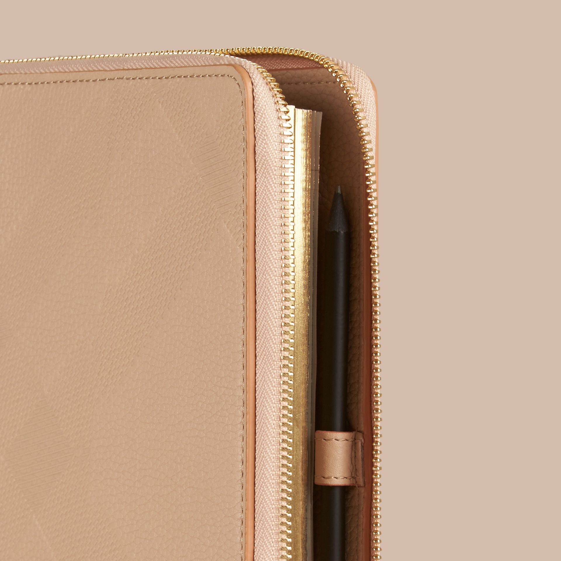 Pale apricot Ziparound Check-Embossed Leather A5 Notebook Pale Apricot - gallery image 2