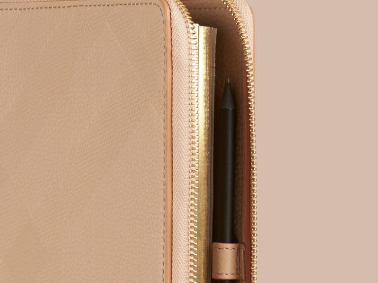 Pale apricot Ziparound Check-Embossed Leather A5 Notebook Pale Apricot - cell image 1