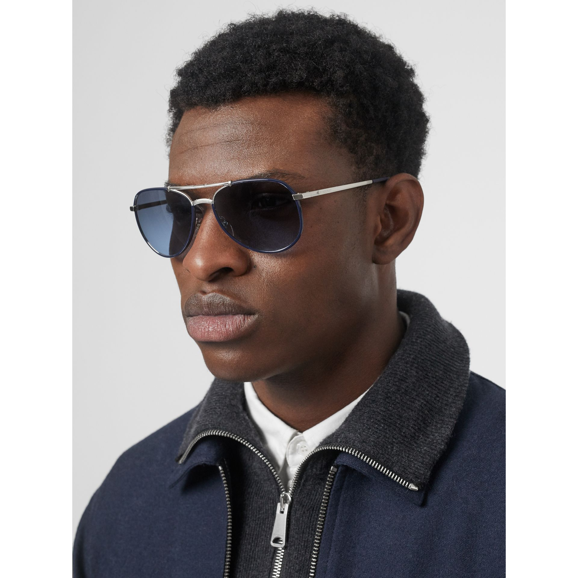 Folding Pilot Sunglasses in Navy - Men | Burberry Canada - gallery image 2