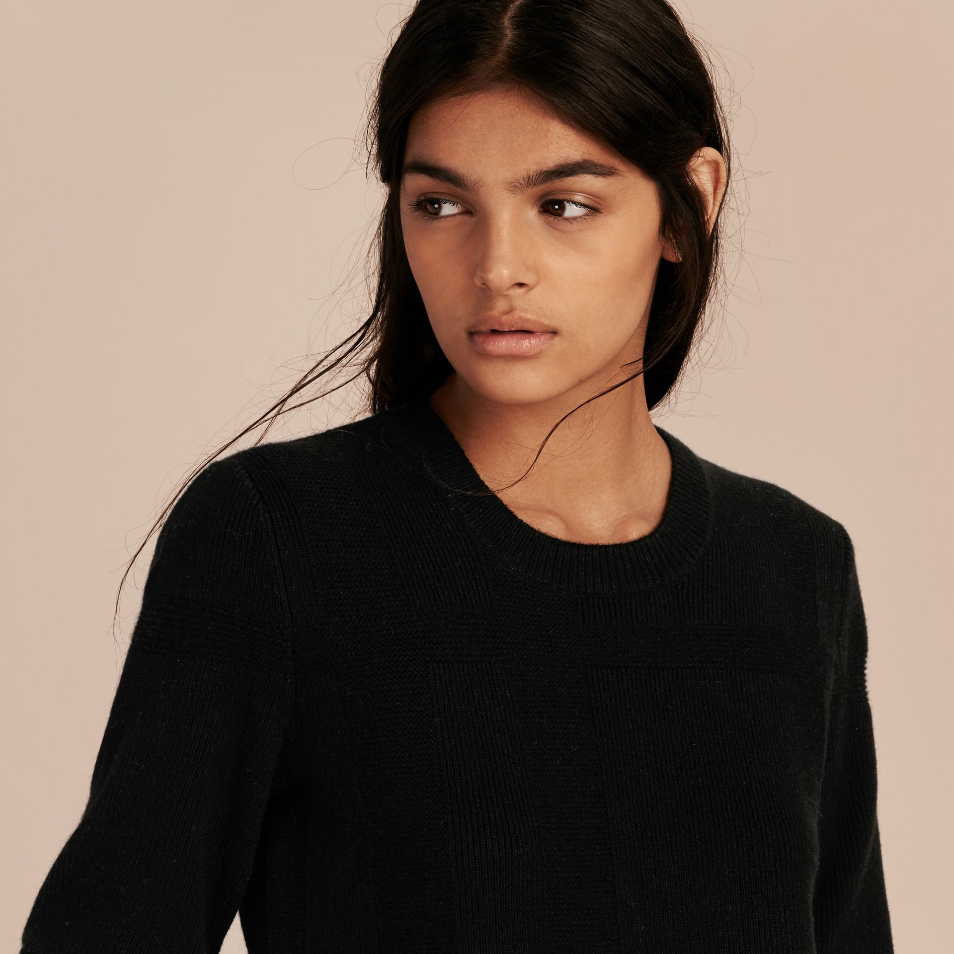 Check-knit Wool Cashmere Sweater Black - gallery image 5
