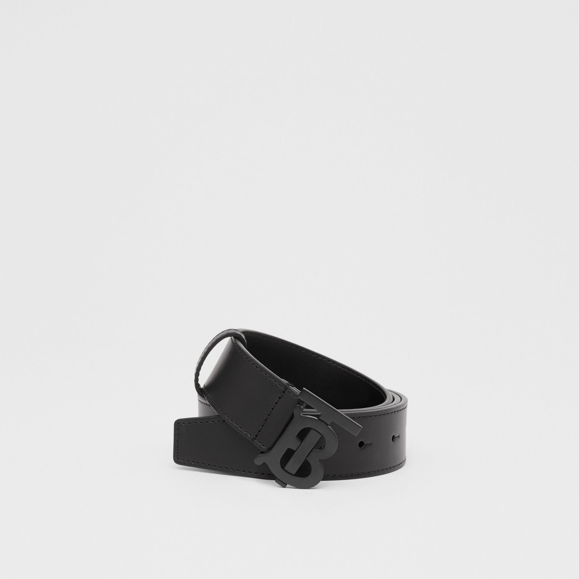 Matte Monogram Motif Leather Belt in Black - Men | Burberry United States - gallery image 0