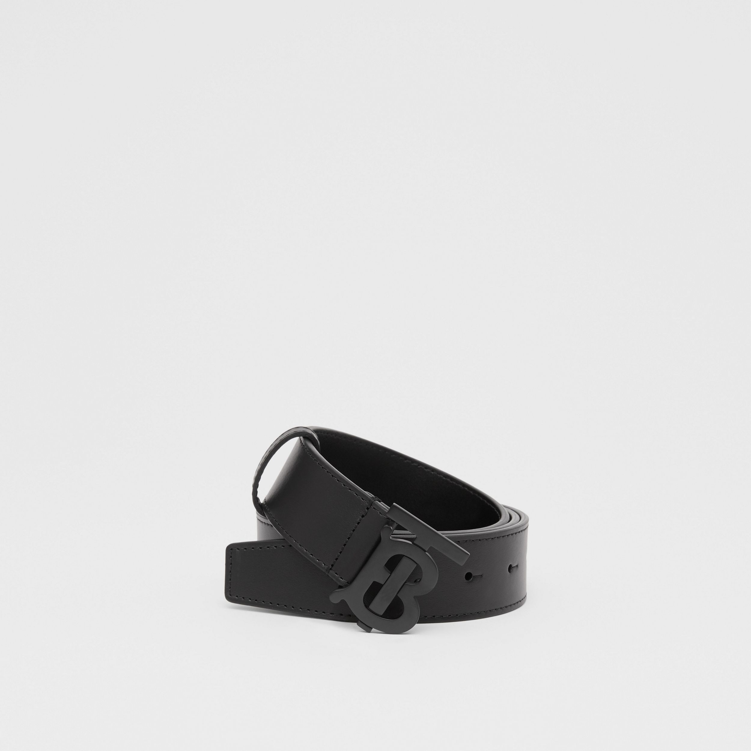 Matte Monogram Motif Leather Belt in Black - Men | Burberry - 1