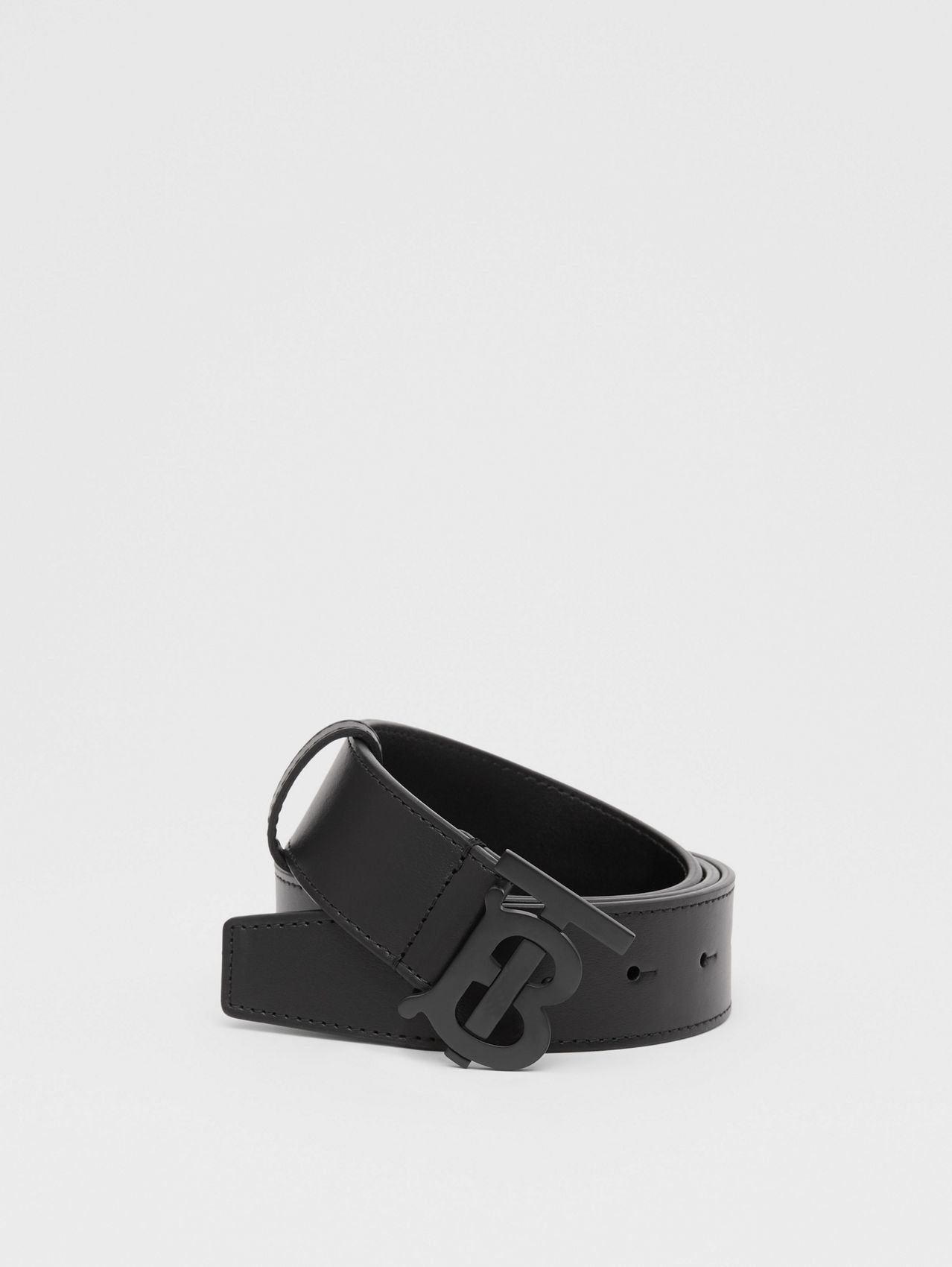 Matte Monogram Motif Leather Belt in Black