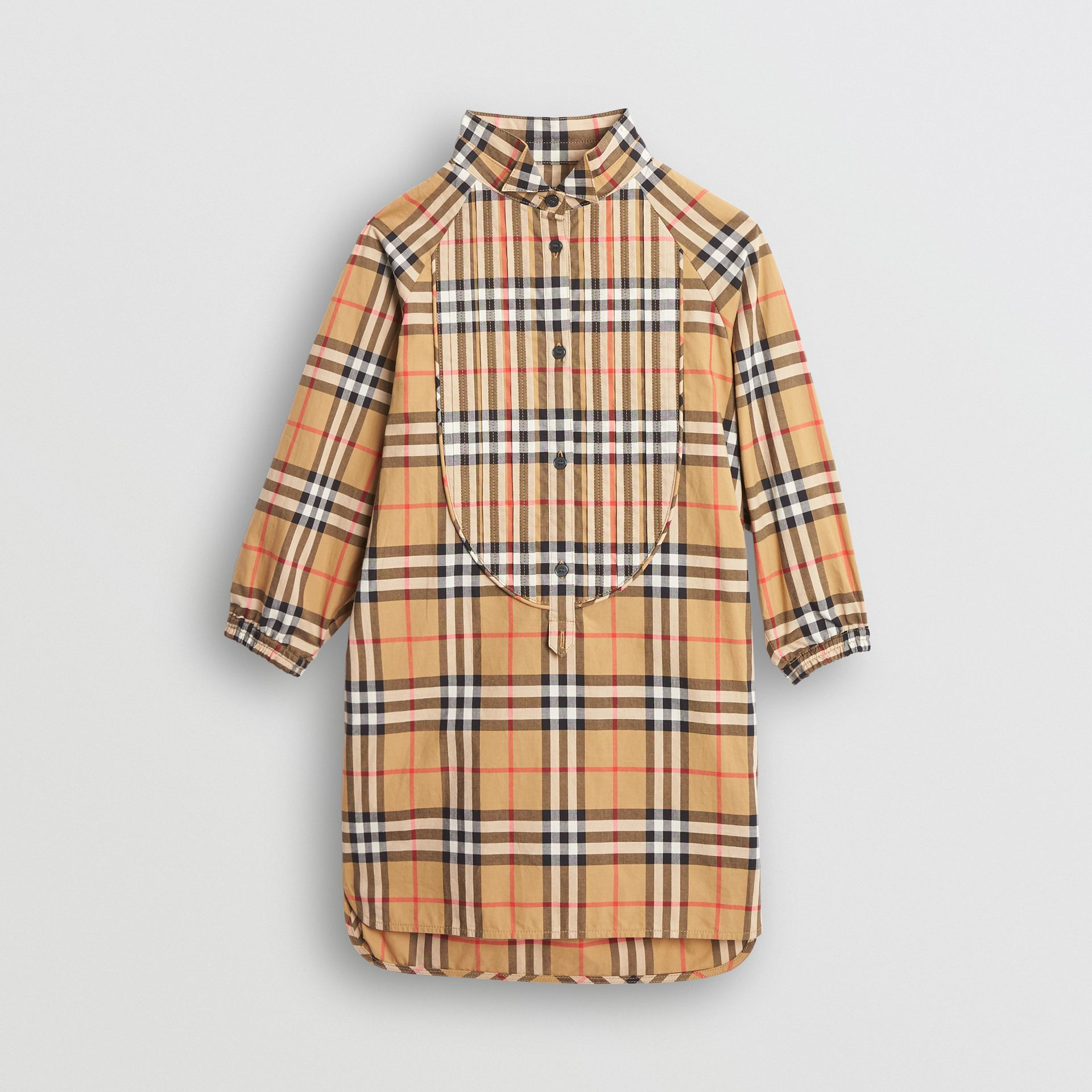 Vintage Check Cotton Shirt Dress in Antique Yellow | Burberry - gallery image 0