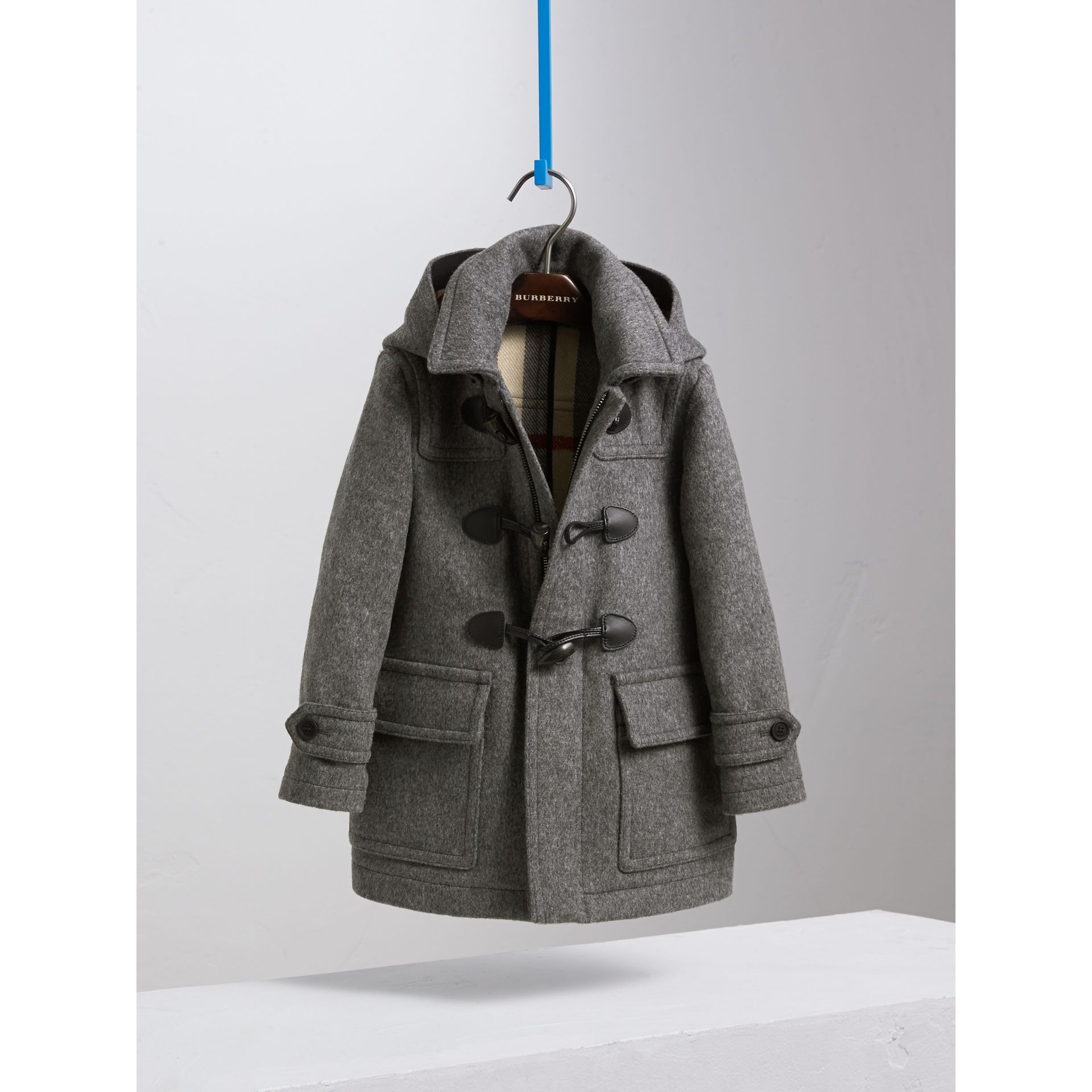 Hooded Wool Duffle Coat in Mid Grey Melange - Boy | Burberry - gallery image 2