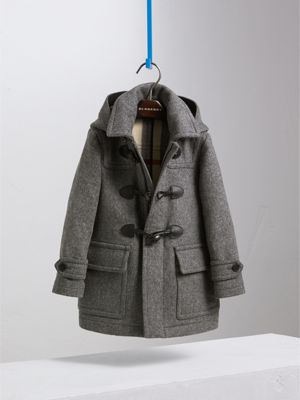 Hooded Wool Duffle Coat in Mid Grey Melange - Boy | Burberry