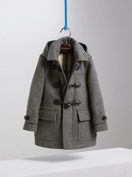 Hooded Wool Duffle Coat in Mid Grey Melange - Boy | Burberry
