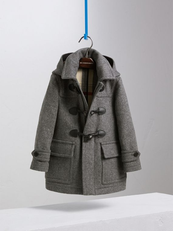 Hooded Wool Duffle Coat in Mid Grey Melange - Boy | Burberry - cell image 2