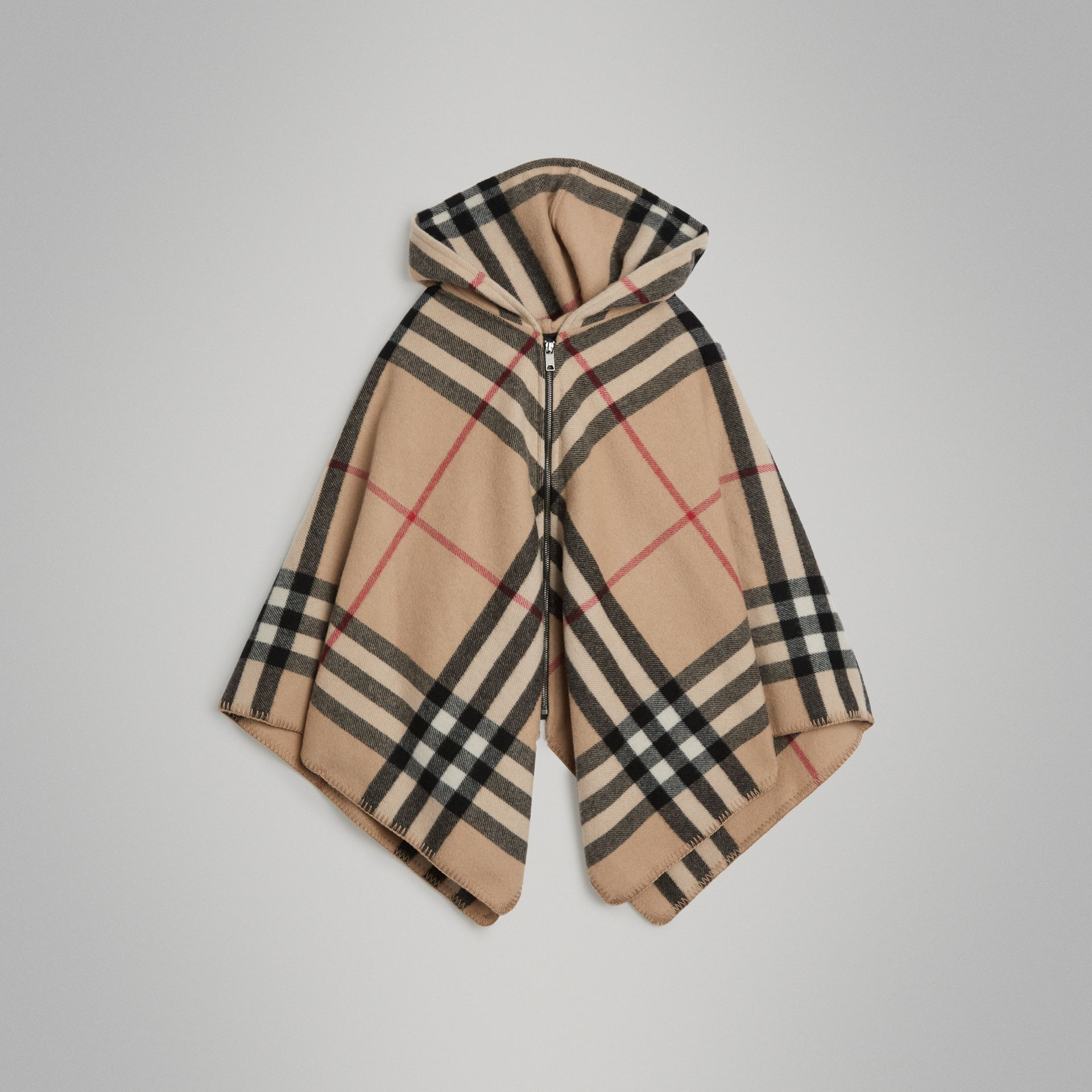 Check Wool Cashmere Hooded Poncho in New Classic | Burberry - gallery image 0