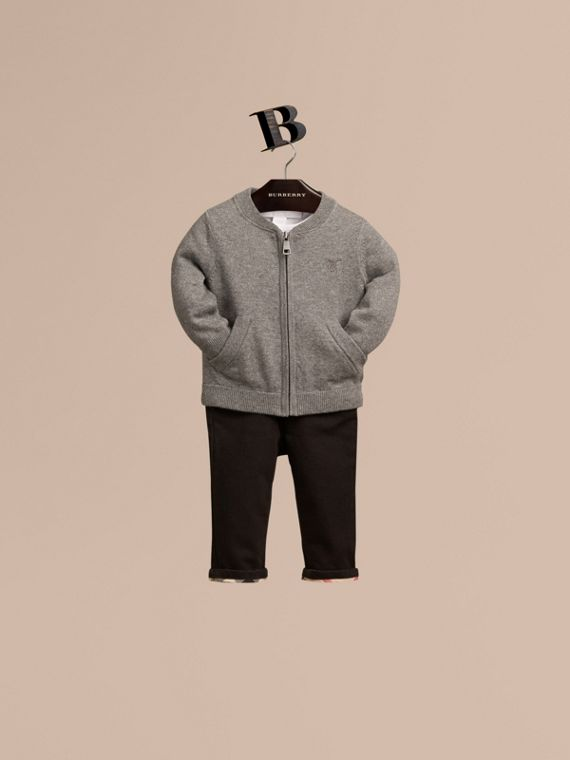 Check Detail Cotton Cardigan in Mid Grey Melange - Boy | Burberry - cell image 2