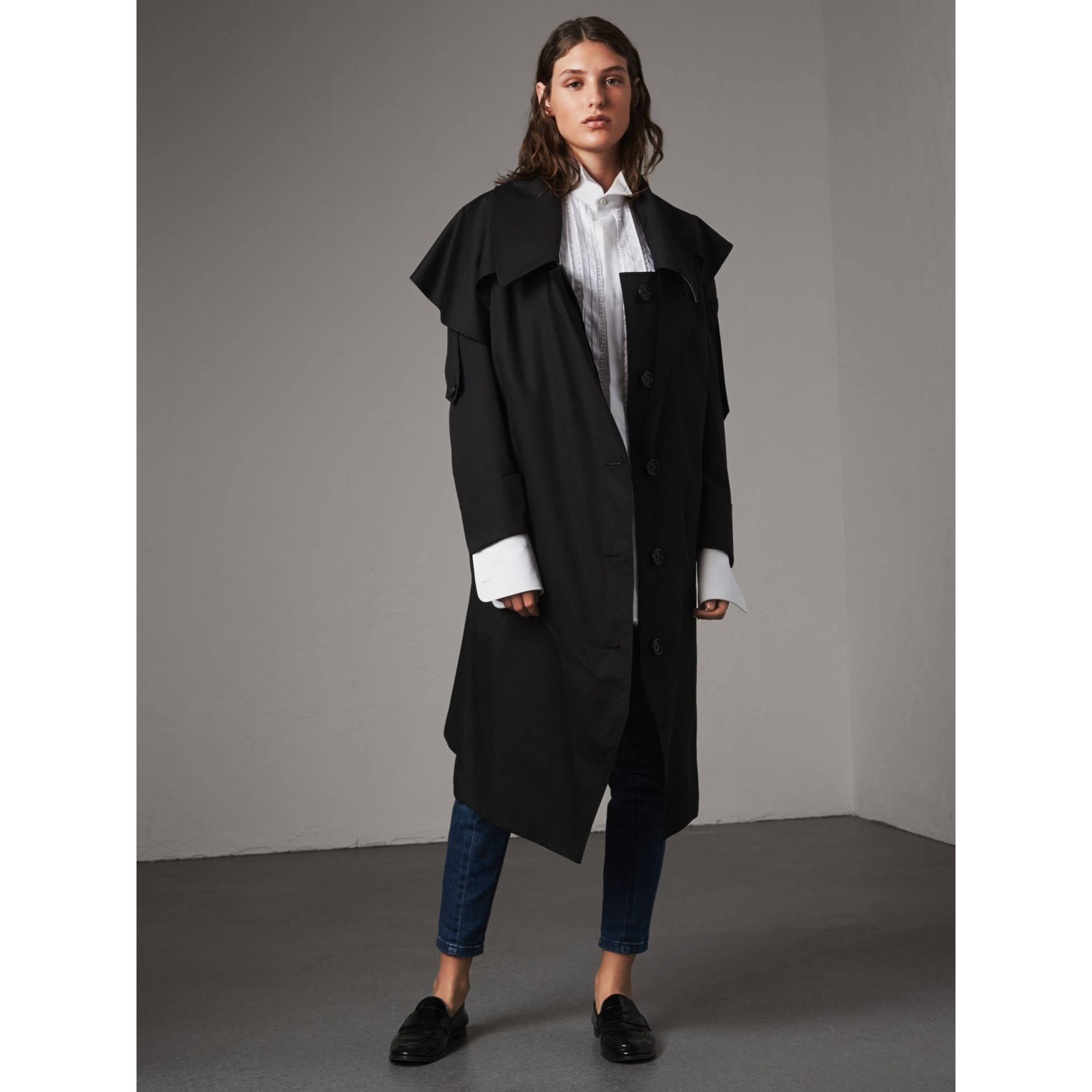 Cotton Asymmetric Trench Coat in Black - Women | Burberry Singapore - gallery image 1
